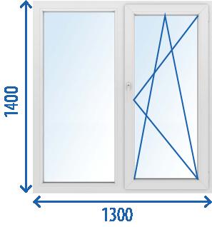 Окно 1300x1400 Поворотно-откидное
